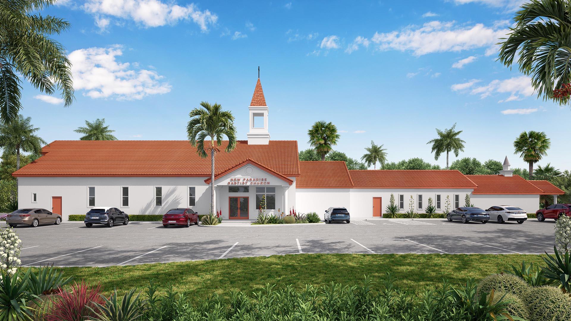 3D Render Exterior Paradise church 2