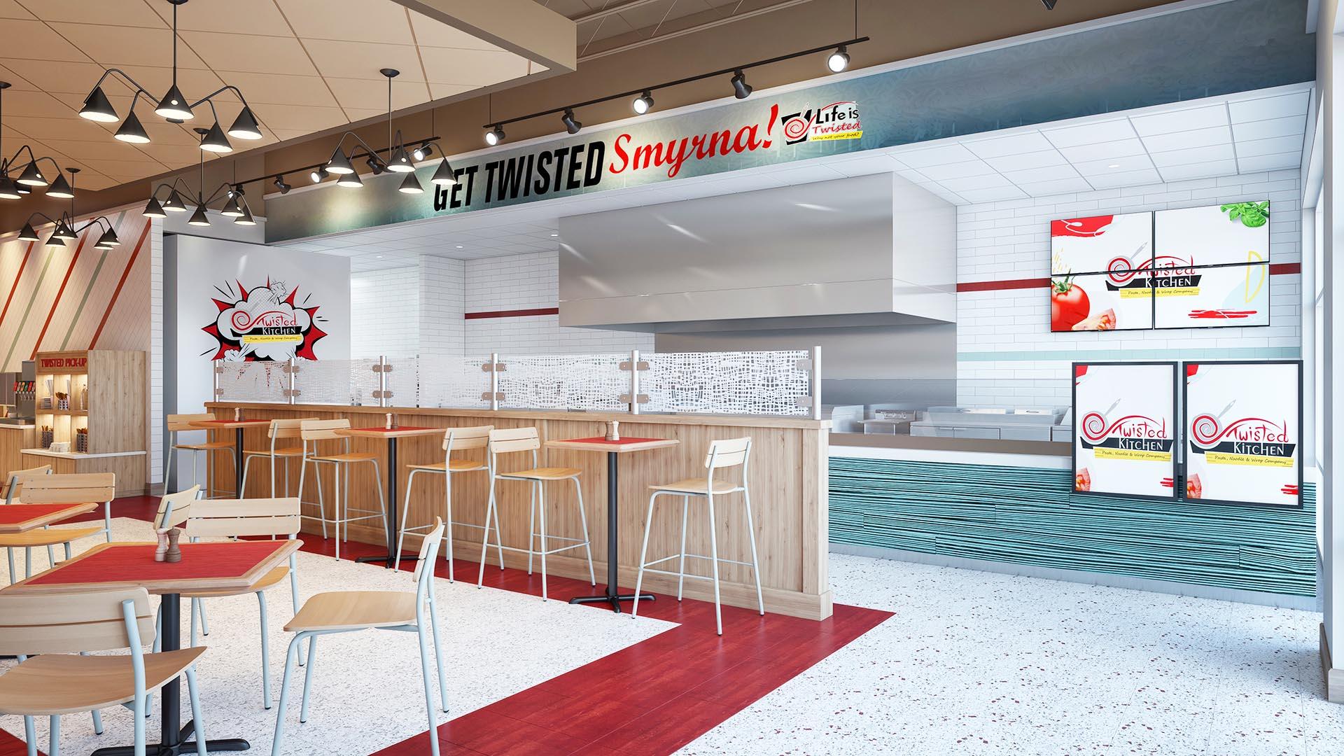 3D Render Interior Twisted Kitchen 2