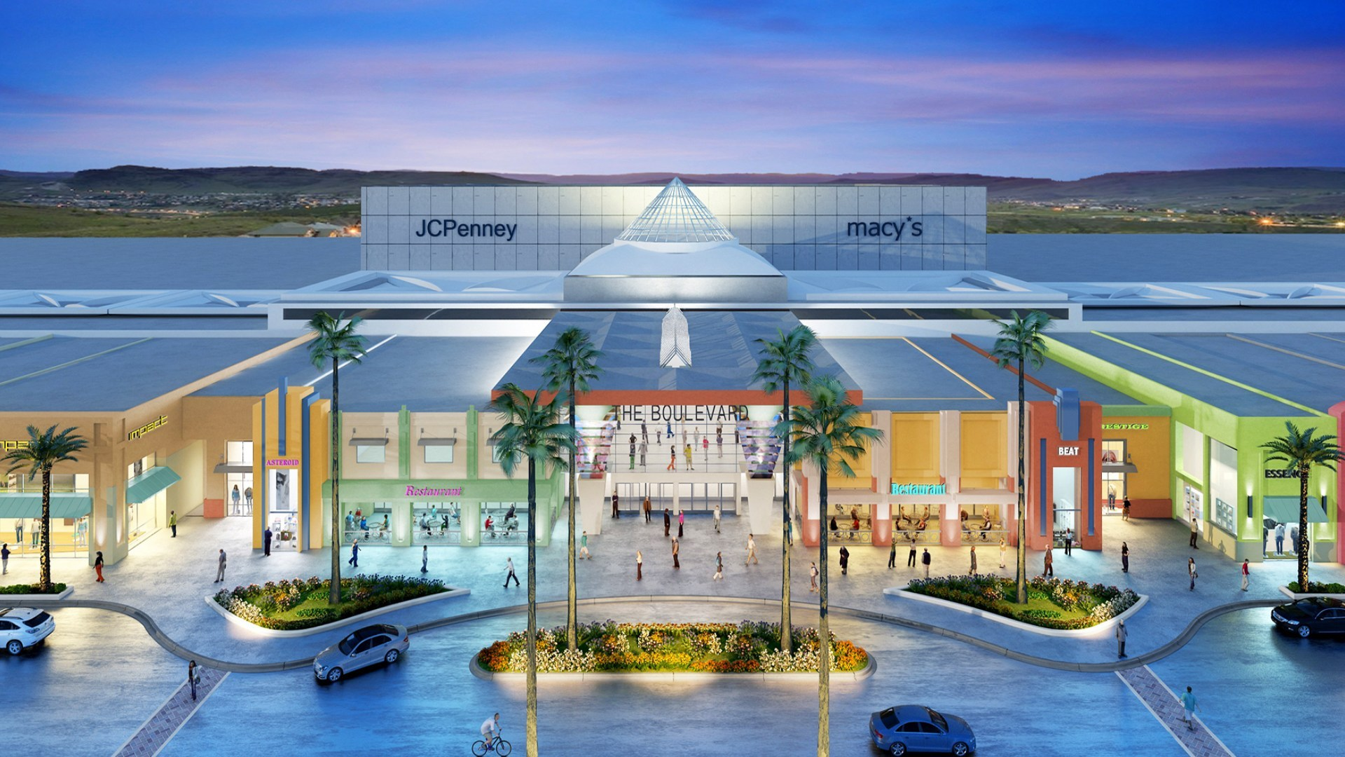3d Render Aerial View Exterior Mall 2