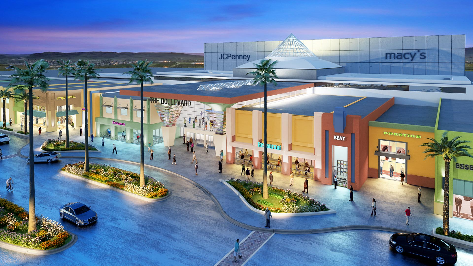 3d Render Aerial View Exterior Mall