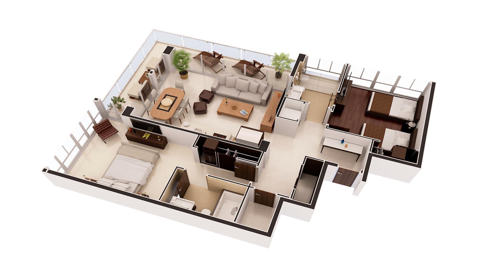 3D Render Floor Plan residence 4