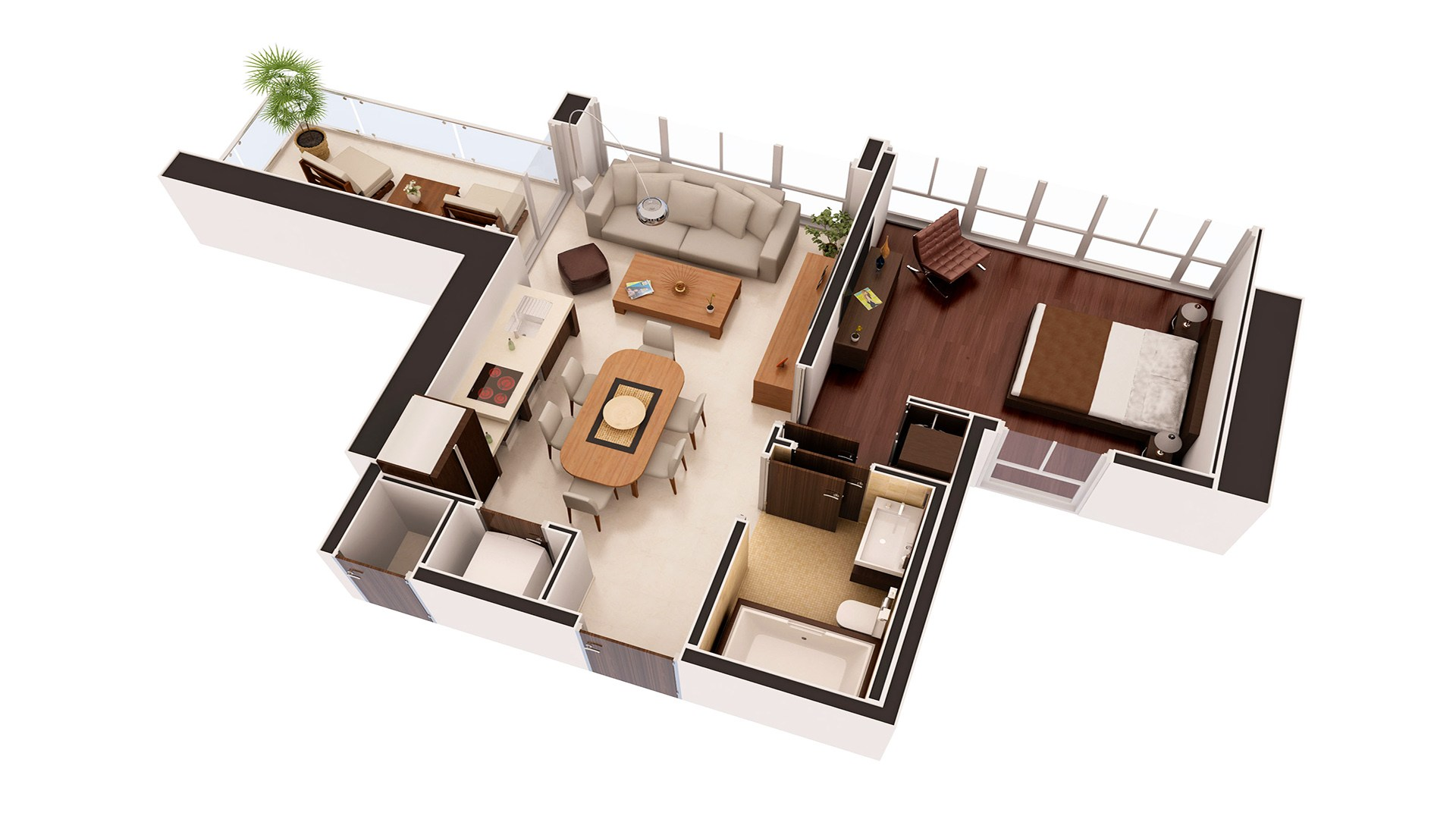 3D Render Floor Plan residence 3