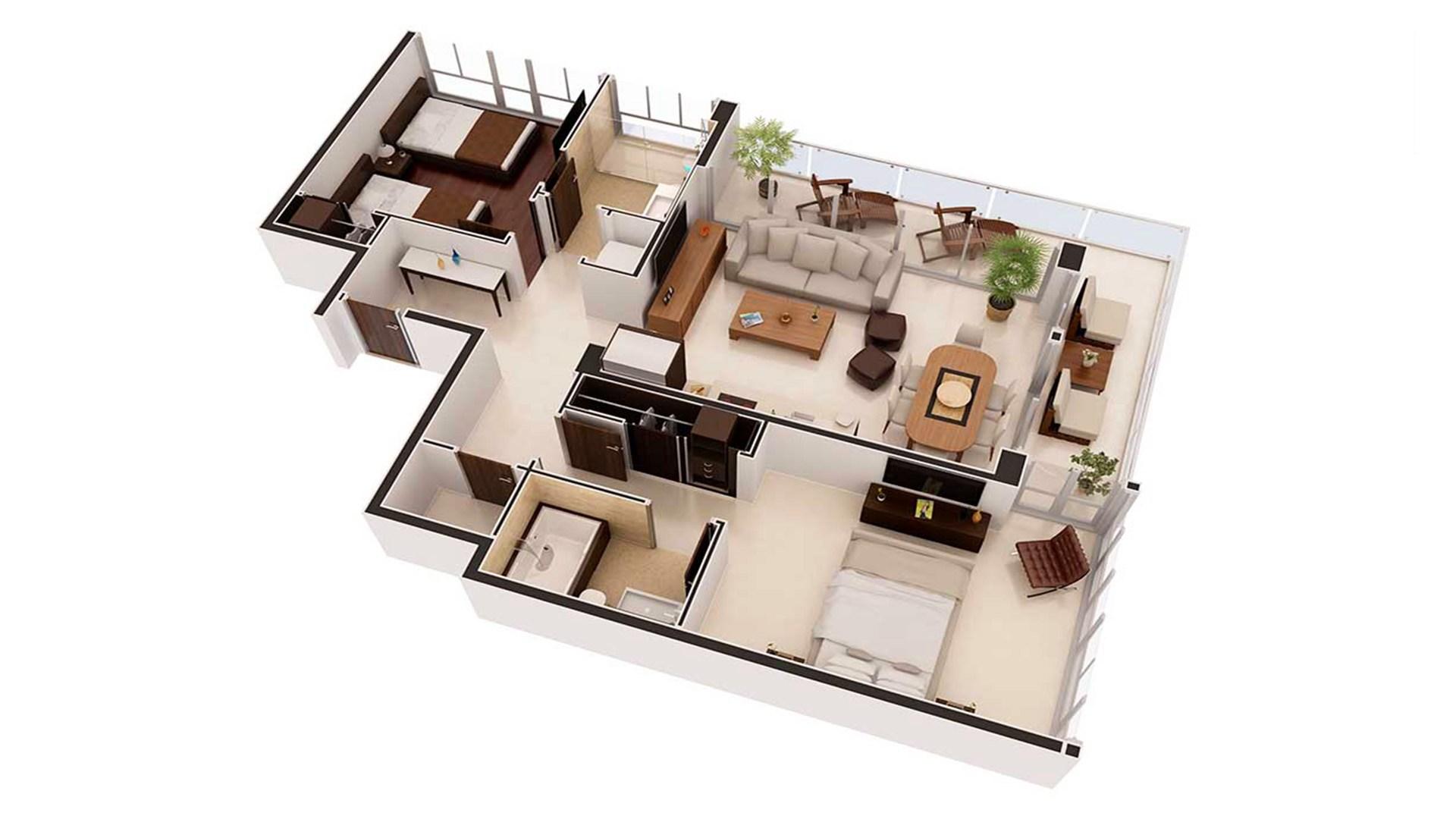 3D Render Floor Plan axonometric 2