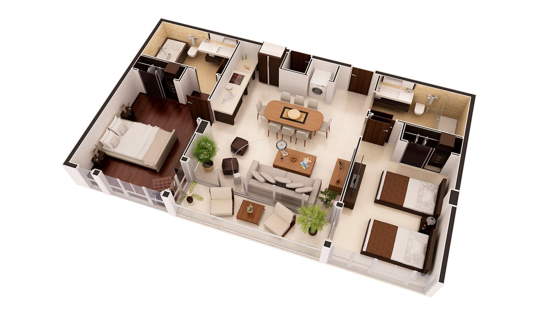 3D Render Floor Plan Residence