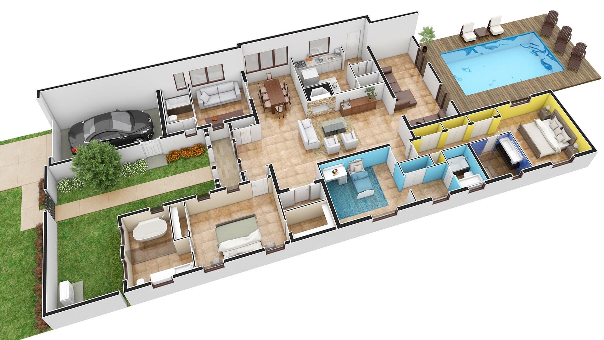 3D Render Floor Plan Pompano Sweeney