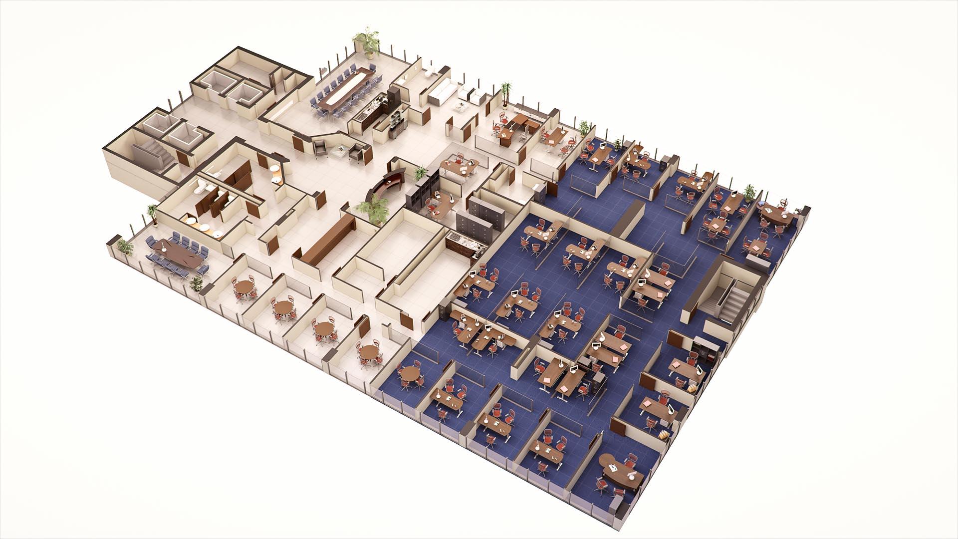 3D Render Floor Plan 7th floor
