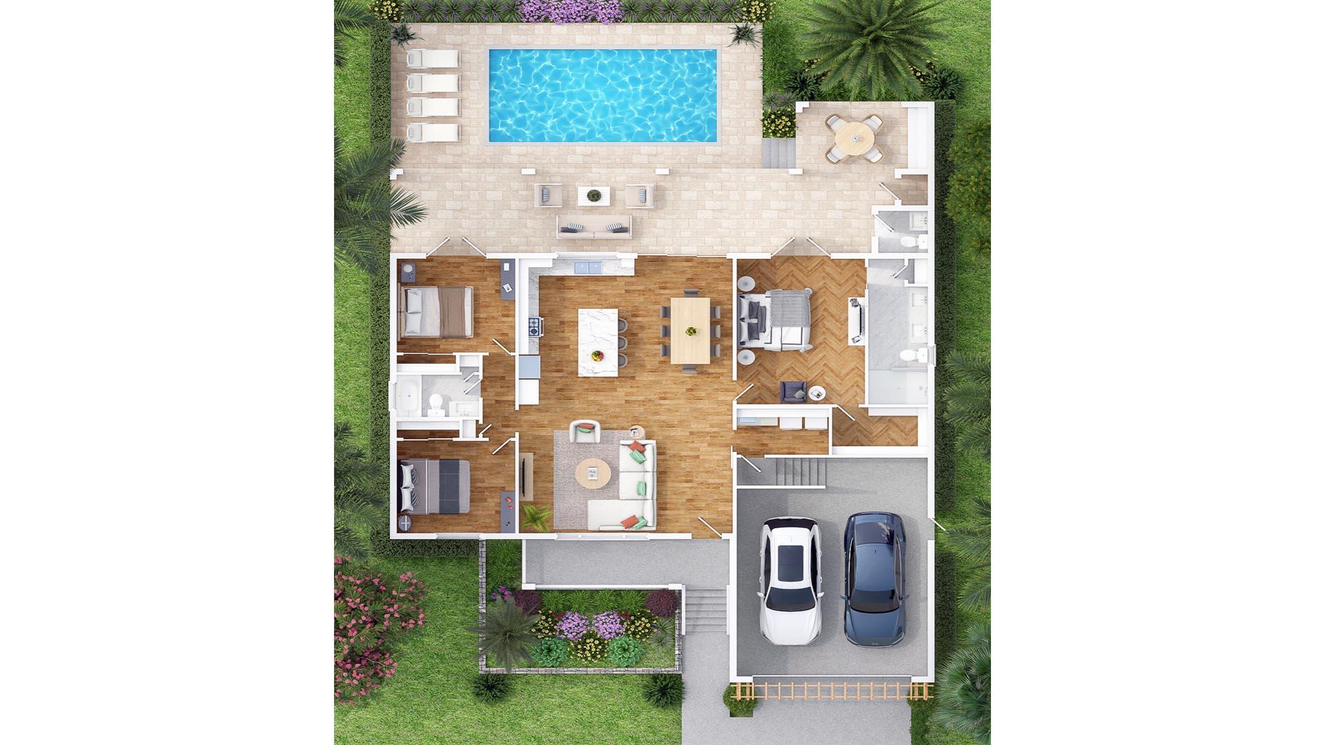 3D Render Floor Plan Andrews