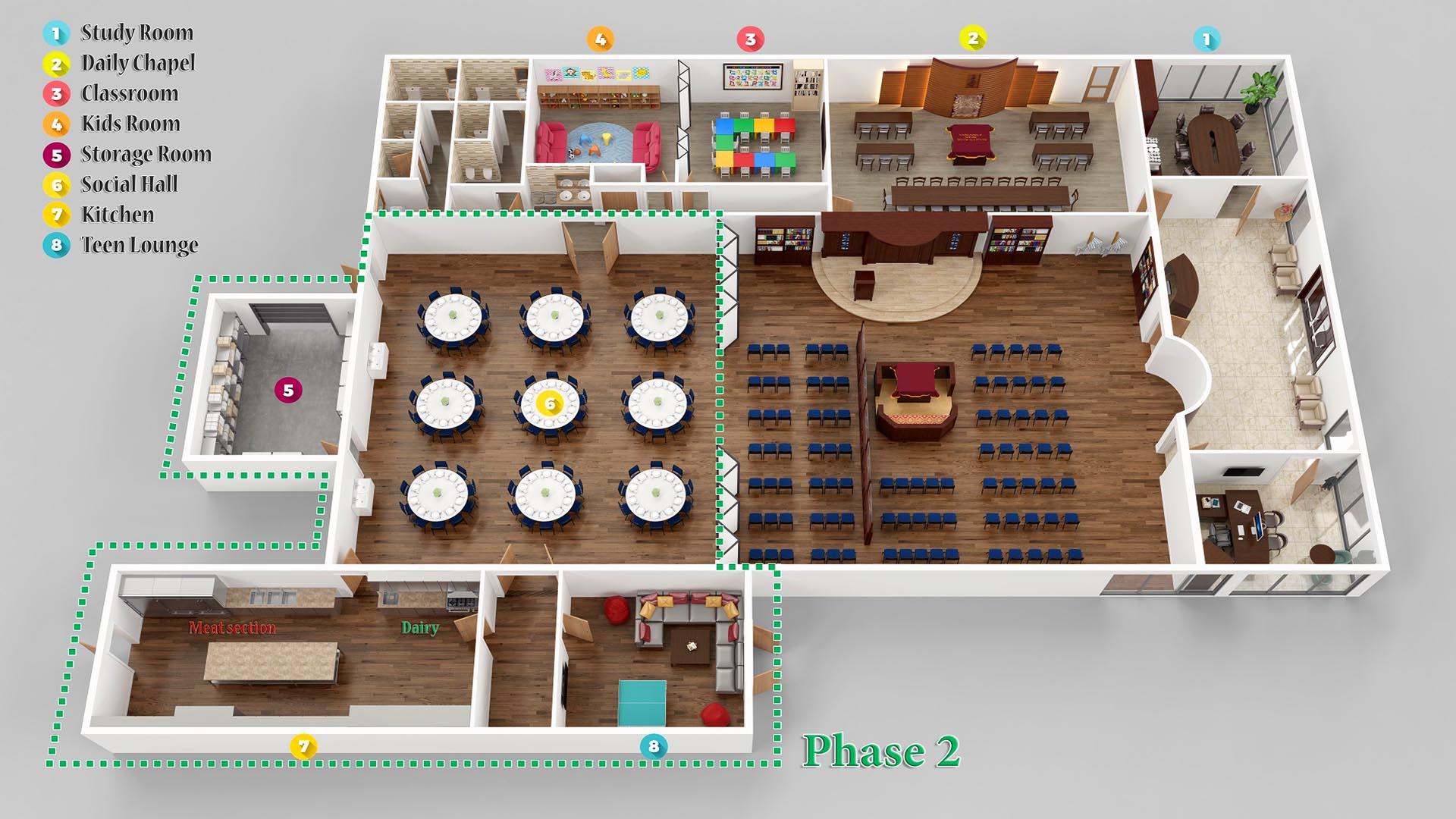 3D Render Floor Plan axonometric view