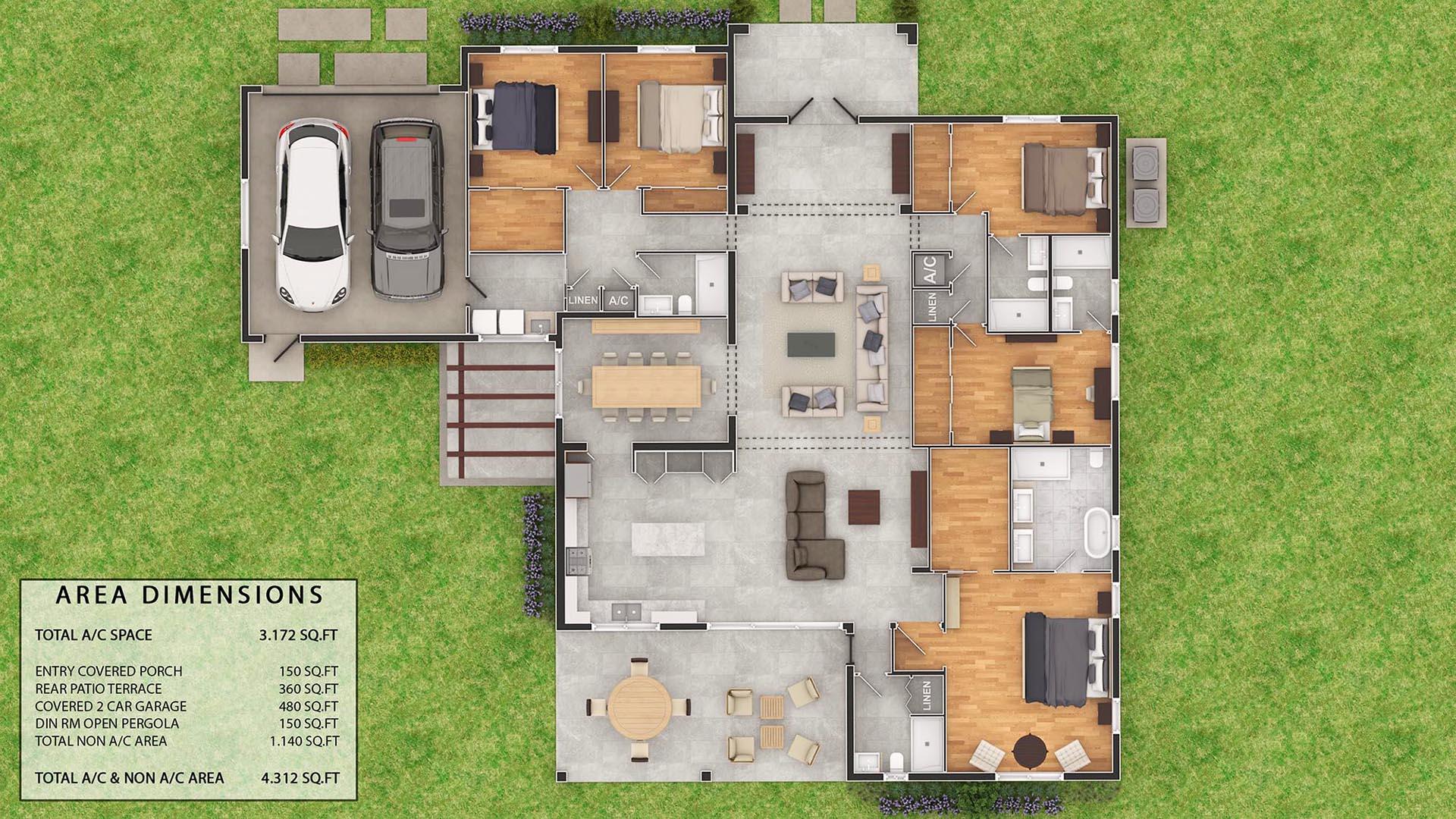 3D Render Floor Plan Millbras