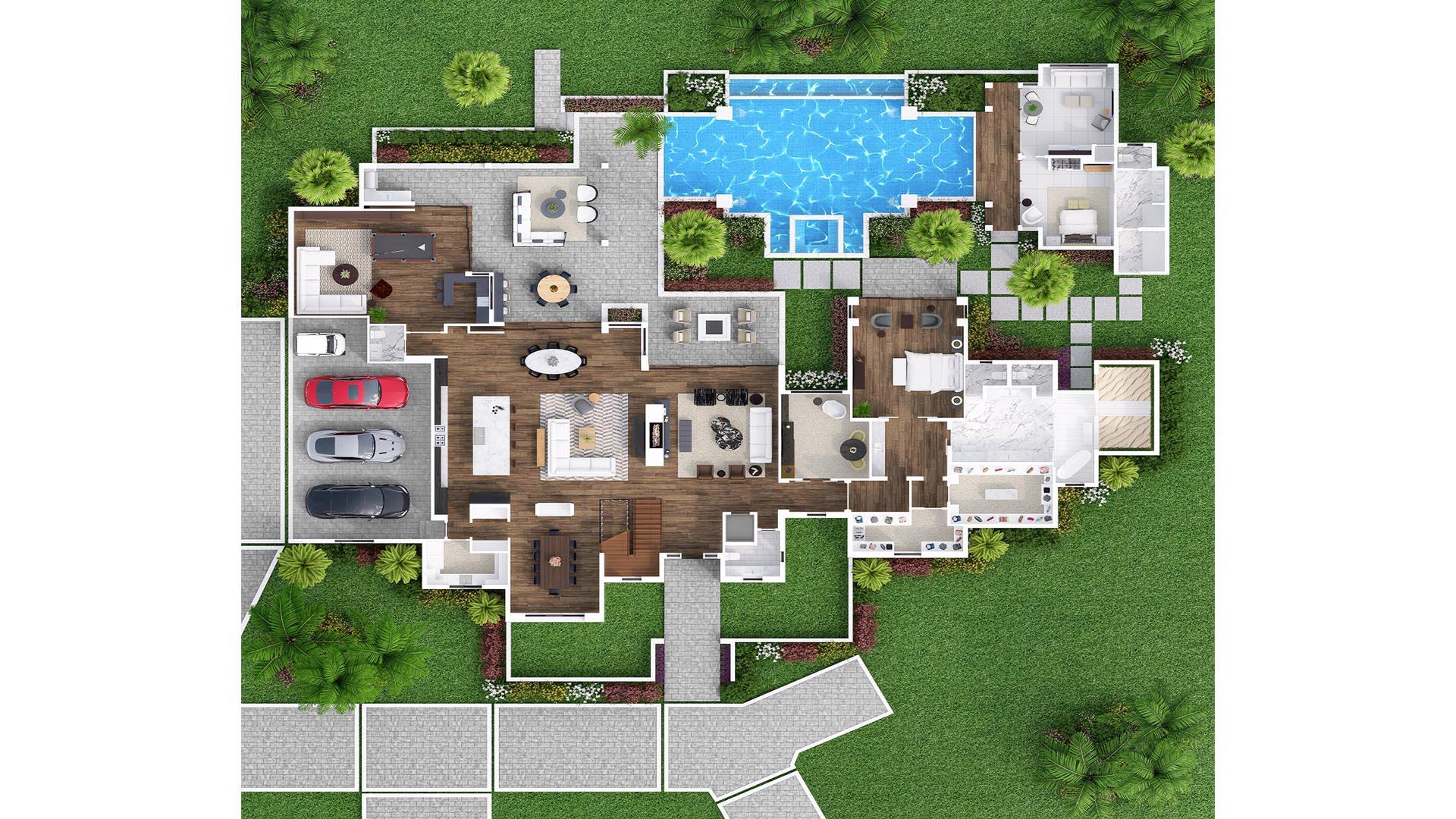 3D Render Floor Plan top view