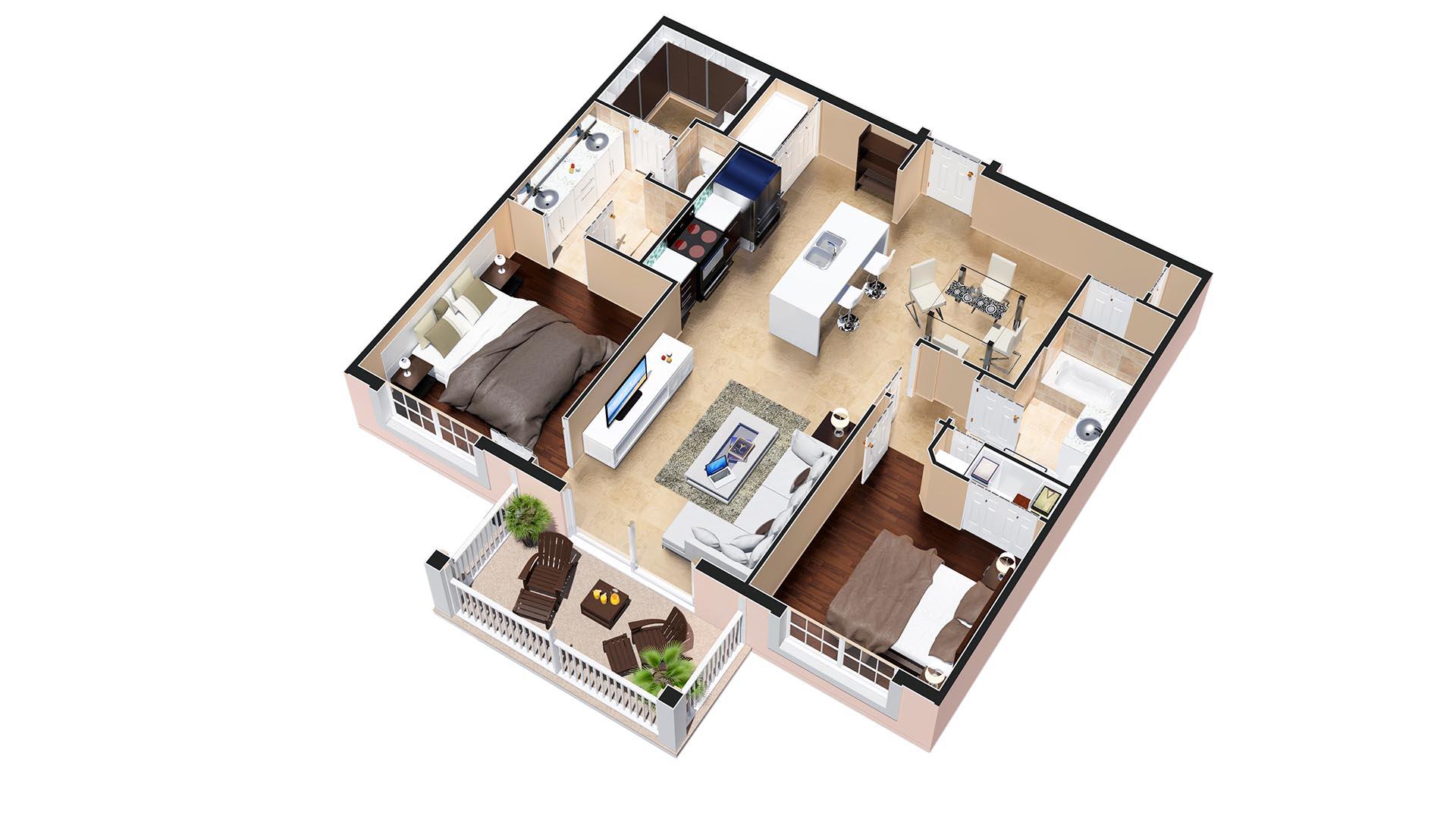 3D Render Floor Plan Aspen