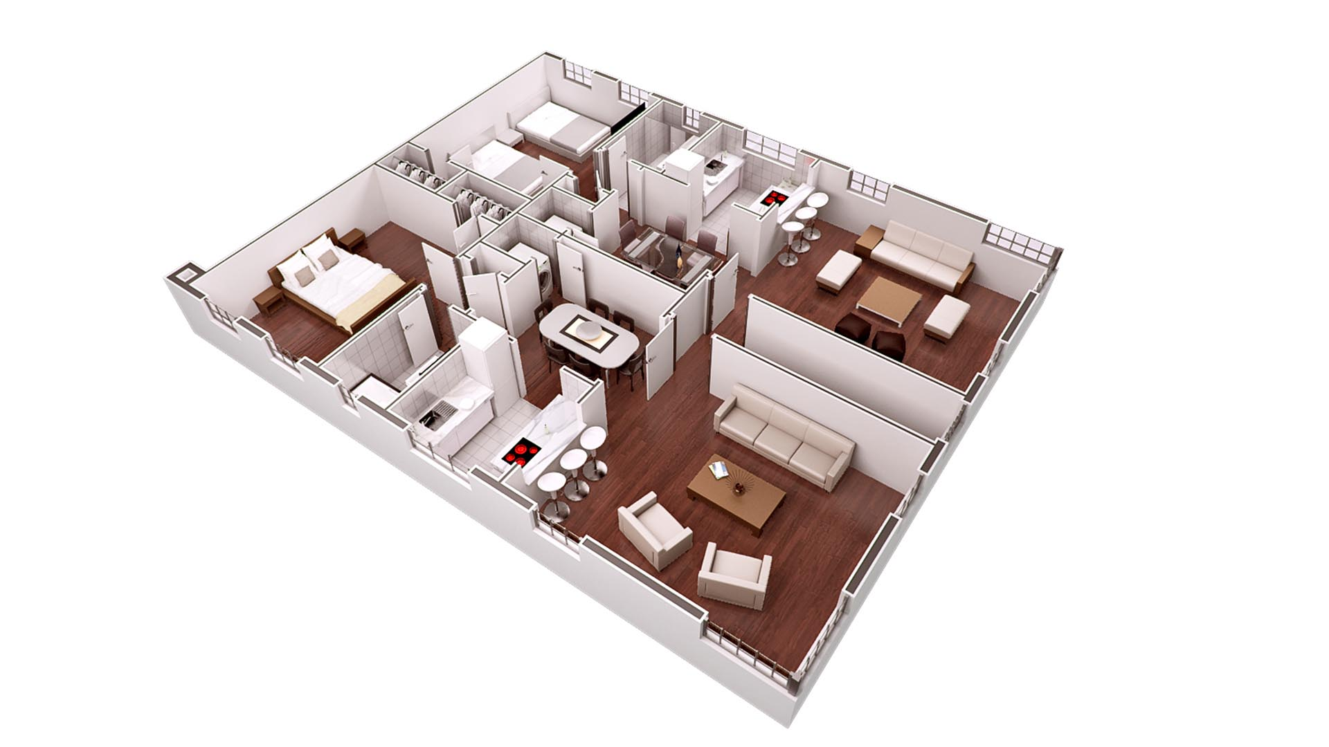 3D Render Floor Plan 3